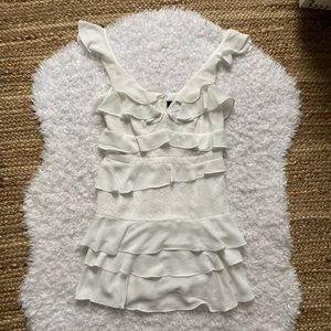 BARDOT NWT White Tiered Ruffle Mini Dress 8